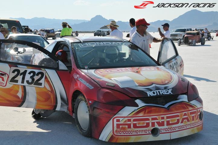 Oscar Sr. about to head down the salt in the twin Rotrex supercharged Hondata/Jackson Racing Acura RSX